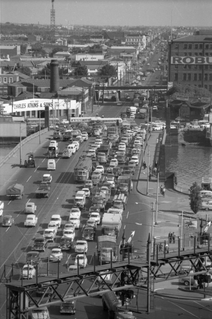 35A-96b Image showing heavy traffic on Spencer Street bridge, South Melbourne