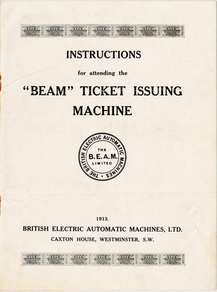 Instruction booklet for the BEAM ticket issuing machine