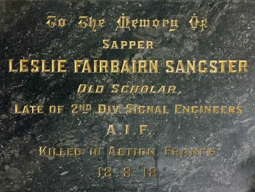 Plaque, Leslie Fairbairn Sangster