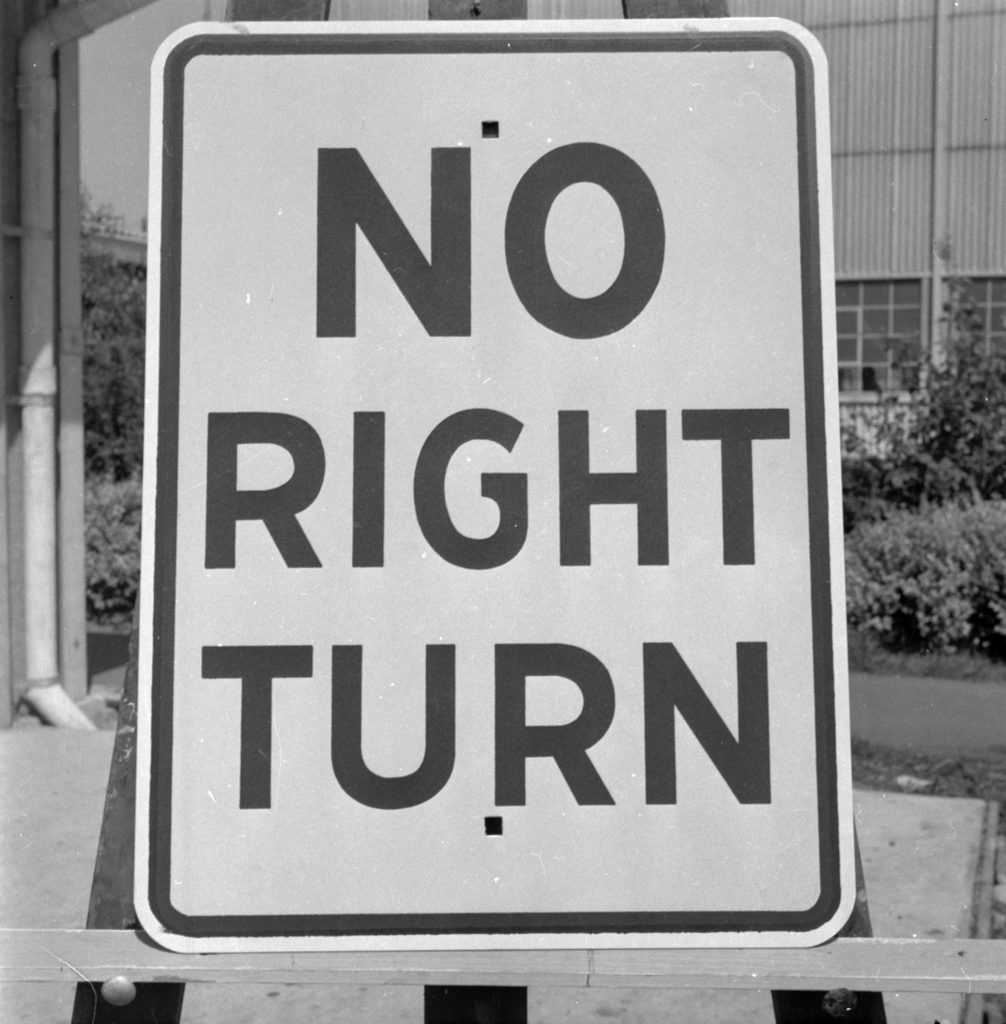 Unmarked Book Negative A82 – No Right Turn sign
