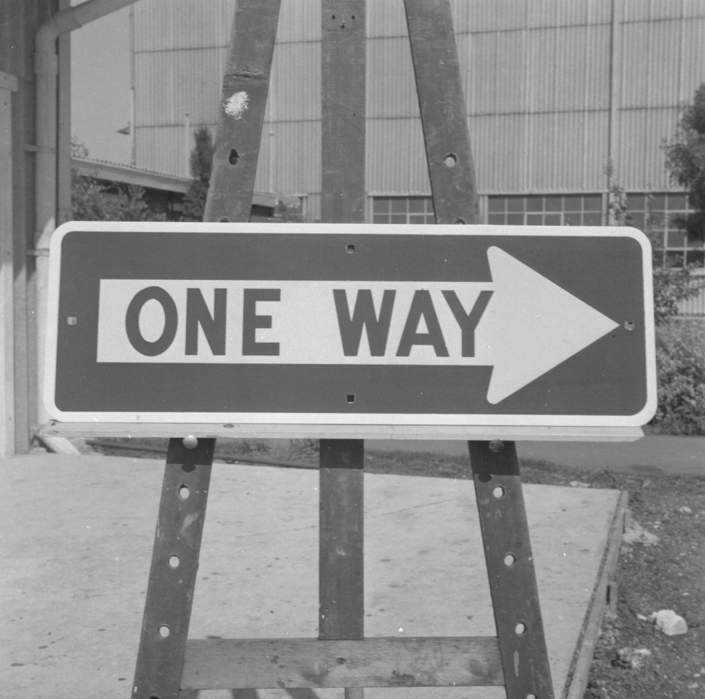Unmarked Book Negative A84 – One Way sign