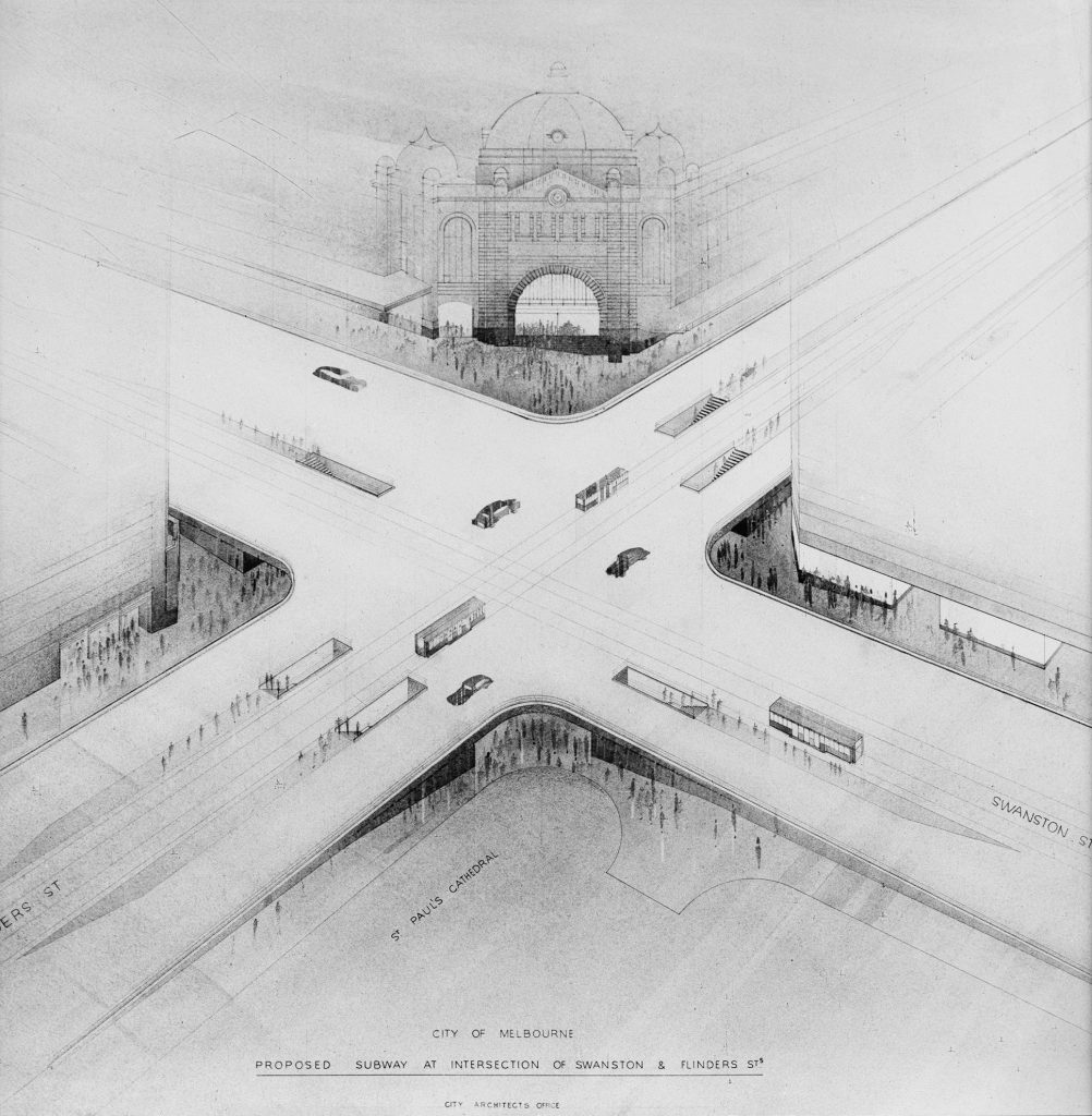 Proposed subway at intersection of Swanston & Flinders
