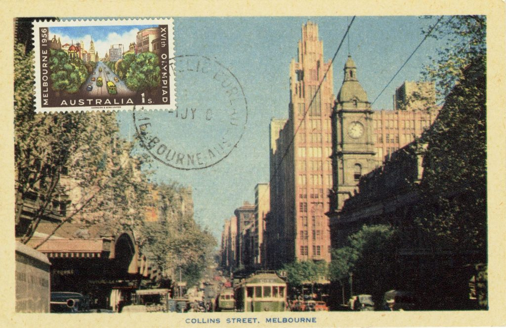 Melbourne Postcard with a 1956 Olympics Stamp