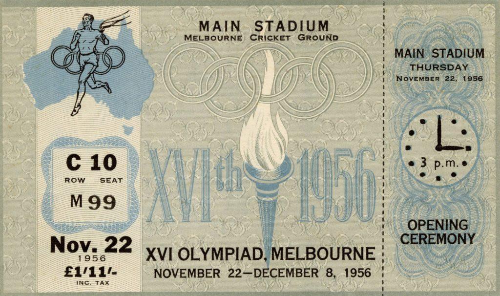 Ticket, 1956 Olympics, Opening Ceremony