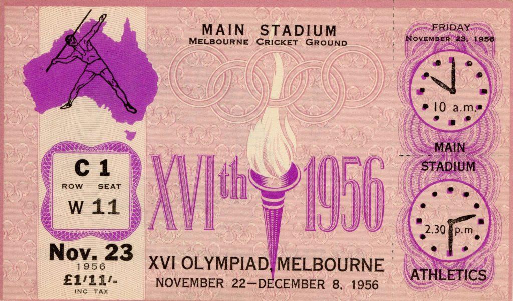 Ticket, 1956 Olympics, Athletics
