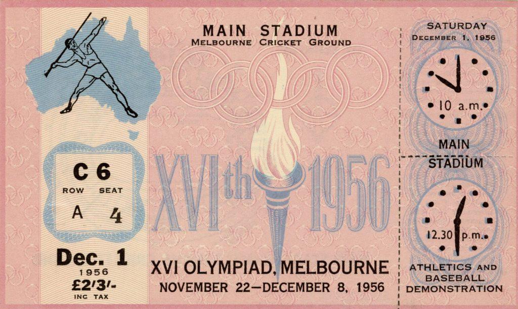 Ticket, 1956 Olympics, Athletics and Baseball Demonstration