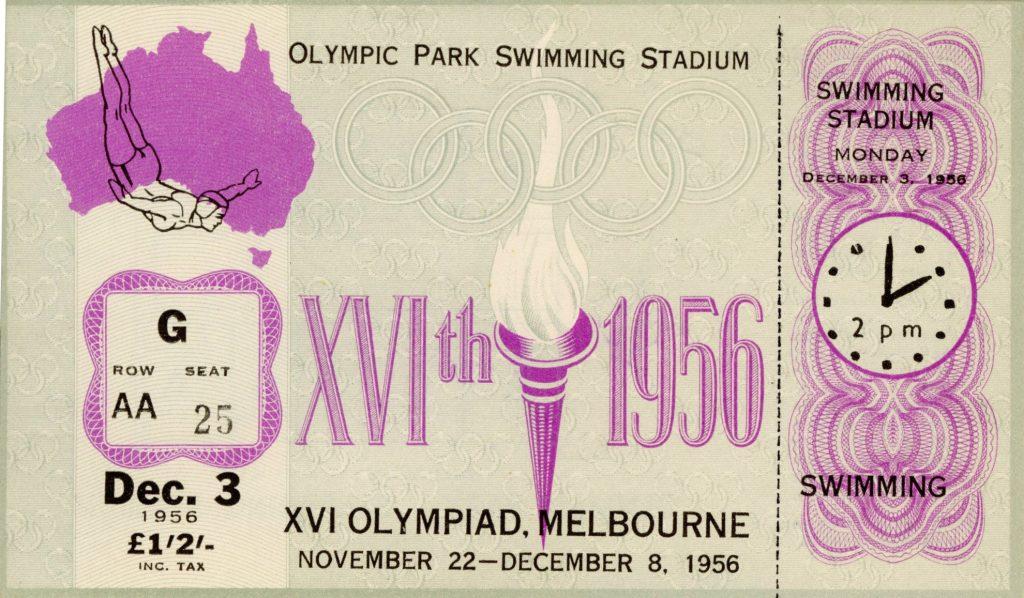 Ticket, 1956 Olympics, Swimming