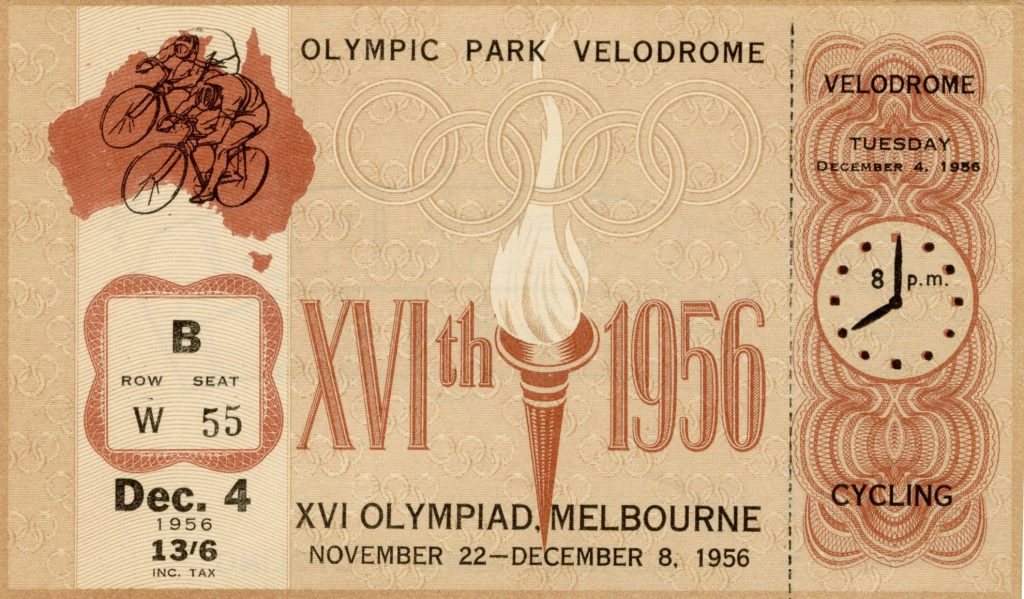 Ticket, 1956 Olympics, Cycling