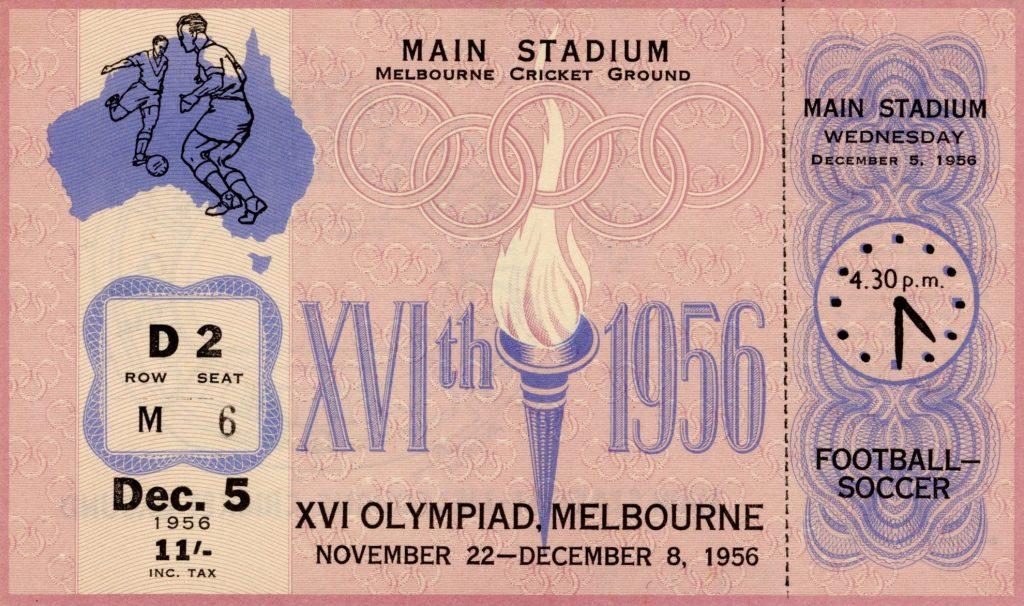 Ticket, 1956 Olympics, Football – Soccer