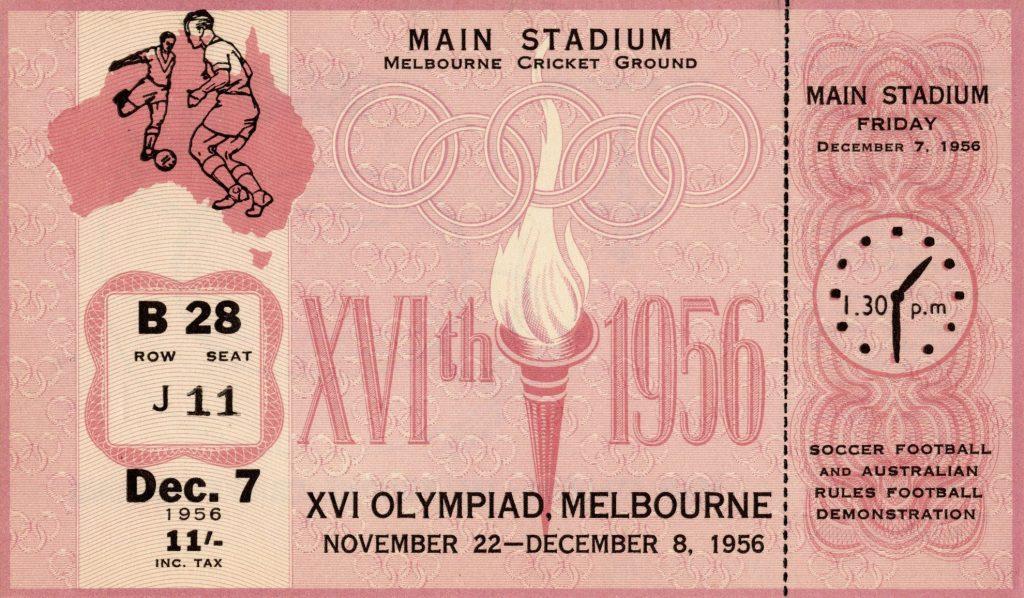 Ticket, 1956 Olympics, Soccer – Football and Australian Rules Football Demonstration