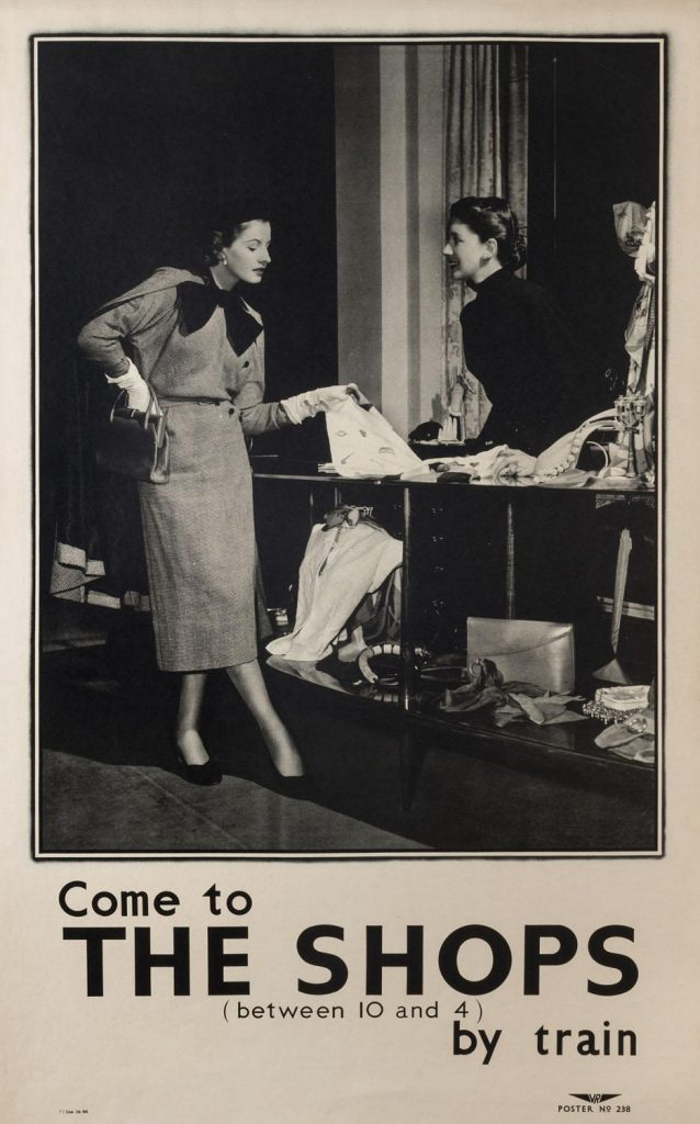 Poster, Come to the shops by train