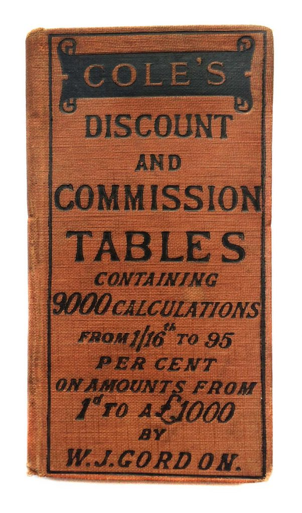 Book, Cole's Discount and Commission Tables
