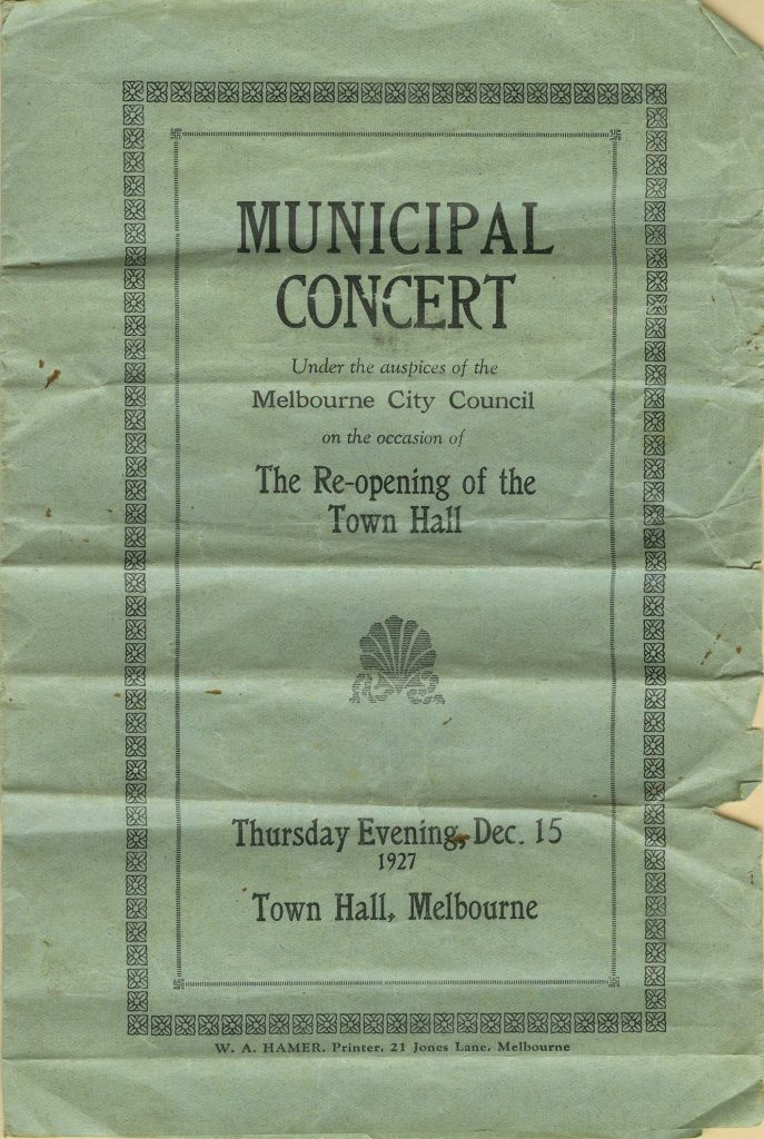 Program, The Re-opening of the Town Hall