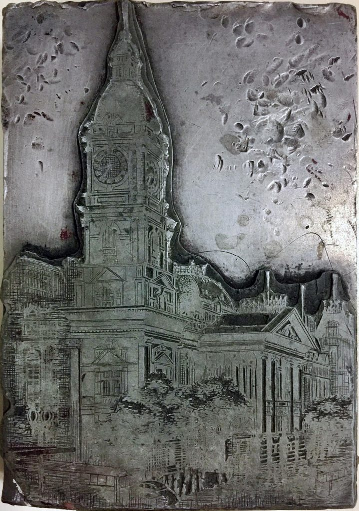Printing block, Melbourne Town Hall