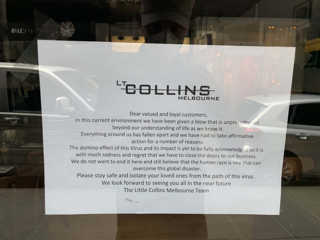 A Sign Of The Times (Lt Collins Melbourne cafe) 1