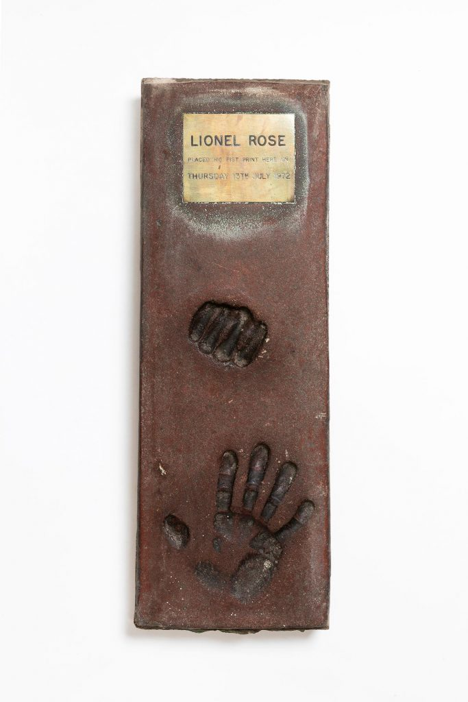 Lionel Rose hand and fist print